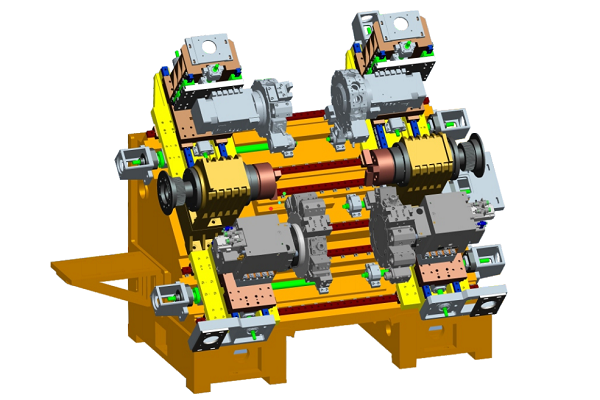 Double spindle, four turret, double Y axis